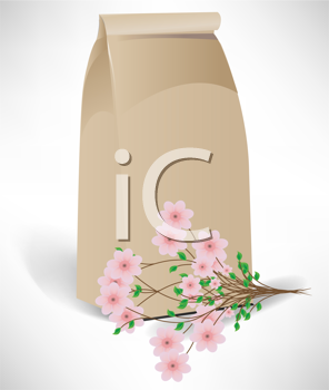bag with flower arrangement isolated