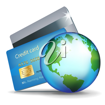 two credit cards and earth globe; internet banking/online payment