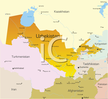 Royalty Free Clipart Image of a Map of Uzbekistan