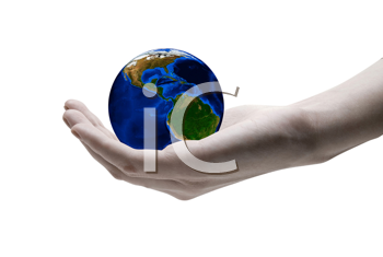 Royalty Free Photo of a Hand Holding the World