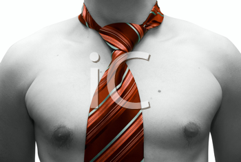 Royalty Free Photo of a Topless Man Wearing a Necktie
