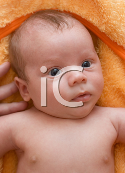 Royalty Free Photo of a Baby Lying on a Blanket