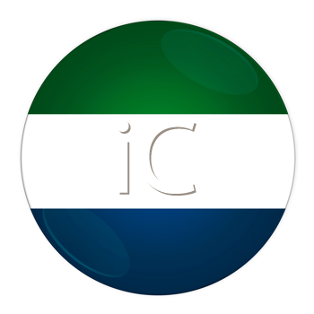 Abstract illustration: button with flag from Sierra Leone country