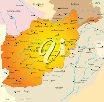 Royalty Free Clipart Image of a Map of Afghanistan