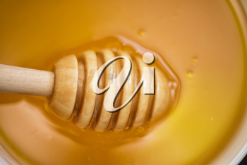 Honey with wooden spoon closeup photo