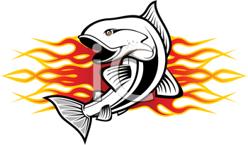 Royalty Free Clipart Image of a Fish and Flames
