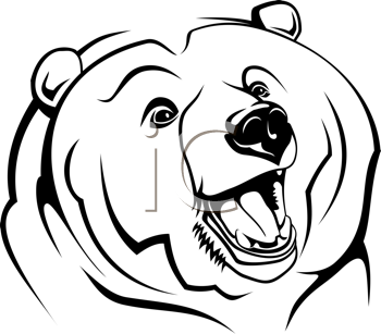 Royalty Free Clipart Image of a Bear's Head