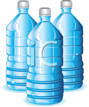 Royalty Free Clipart Image of Blue Bottles of Water