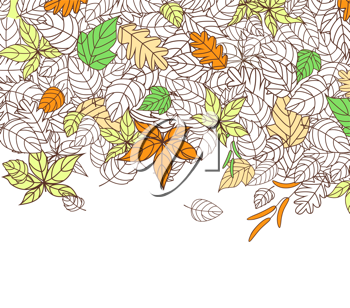 Autumn Leaves Silhouettes Background For Seasonal or Thanksgiving Design