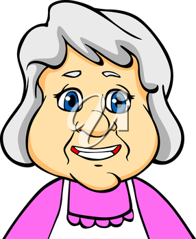 Smiling senior woman or grandmother in cartoon style