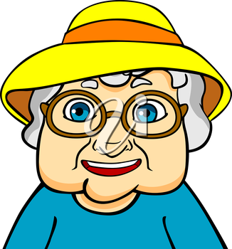 Old grandmother in hat and eyeglasses. Vector ilustration in cartoon style