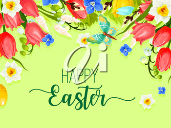 Happy Easter greeting card of springtime flowers bunch and floral bouquet of spring tulips, lily and narcissus. Vector Easter paschal template design for Resurrection Sunday religion holiday