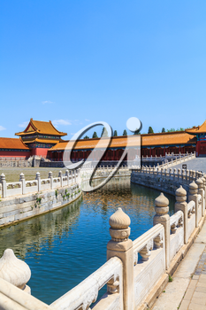 Beijing, China - April 28, 2015: Forbidden City, Beijing, China. Inner Golden River with marble bridges decorated carved balustrades
