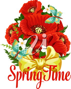 Spring time floral bouquet and butterflies icon for springtime season and holiday greetings. Vector flourish blooms design of red poppy blooms, crocuses flourish bunch and and green leaves