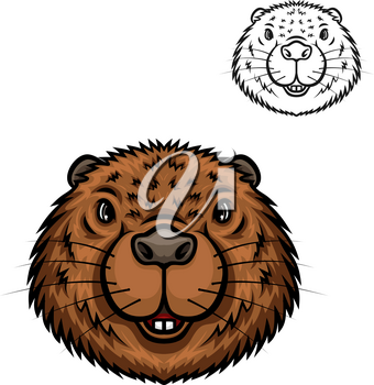 Beaver animal head cartoon icon. Brown beaver, amphibious rodent with pair of sharp tooth and short fur. Zoo mascot, t-shirt print, forest wildlife theme design