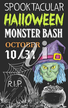 Halloween monster party invitation sketch poster design for October trick or treat celebration. Vector Halloween holiday witch or zombie in potion cauldron, tombstone on graveyard and black spider web