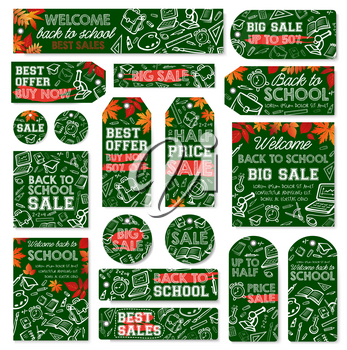 School supplies sale tag and back to school special offer label set. Student stationery and education items chalk sketches on green school blackboard for discount card or sale promotion flyer design