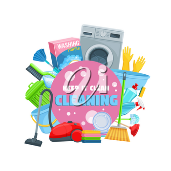 House cleaning tools, detergents and household equipment vector icon of cleaning service and housework design. Broom, spray and sponge, vacuum, bucket and mop, soap, washing machine, gloves and brush