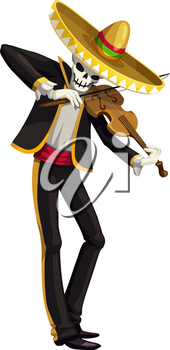 Mexican mariachi, dead skeleton playing on violin. Vector dead man skull in sombrero hat and Mexico suit