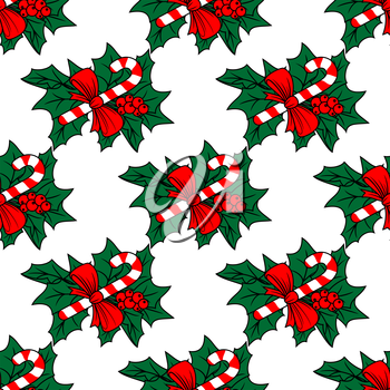 Christmas seamless pattern with candy sticks for holiday design