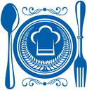 Gournet food award with a blue plate and cutlery decorated with a winners laurel wreath and chefs toque or hat, design illustration