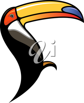 Cute colourful cartoon toucan in profile showing of its large curved bill used for eating fruit, silhouette on white