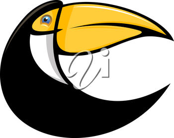 Cartoon illustration of a stylized curved toucan bird in black with a large colourful orange bill isolated on white