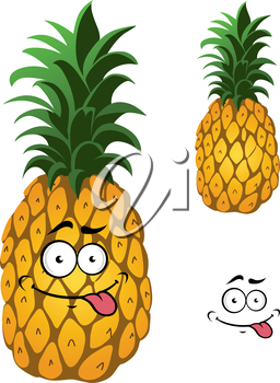 Cartoon pineapple fruit isolated on white background with funny smile