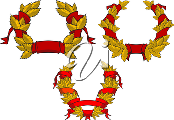 Retro wreaths with red ribbons for heraldic or anniversary design