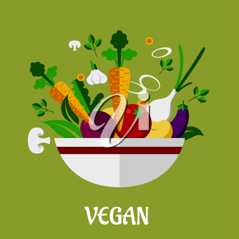 Colorful vegan poster with flat garlic, mushroom, eggplant, carrot, onion, asparagus, parsley, potato icons for infographic design