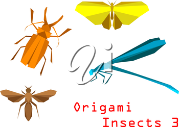 Origami paper insects with beetle, butterfly, bee, dragonfly isolated on white background
