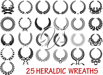 Retro laurel wreath heraldic  icons set with ribbons and laurel leaf branche isolated on white background