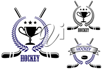 Ice hockey and winter sports symbols with puck, trophy prize cup, stars, stick, laurel wreath and text Hockey. Suitable for sporting logo and recreation design