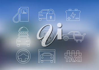Outline car service icons set with car, taxi, security alarm, steering wheel, garage, oil, washing, battery and shopping cart