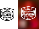 Vintage barber shop welcome banner design on white and red blurred background