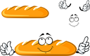 Long loaf bread cartoon character with a dreamy smiling face isolated on white background for bakery shop or food market design