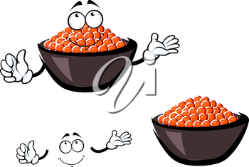 Red caviar cartoon character in brown ceramic bowl filled lightly salted salmon roe and pensive smiling face