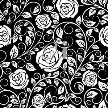 White rose floral seamless pattern with curled tips and dainty leaves on black background, for luxury interior design