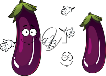 Shiny violet or purple eggplant vegetable cartoon character with happy smiling face showing thumb up gesture, for agriculture or vegetarian cooking design