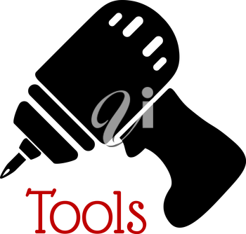 Electric hand drill icon with pistol grip and rechargeable battery isolated on white background