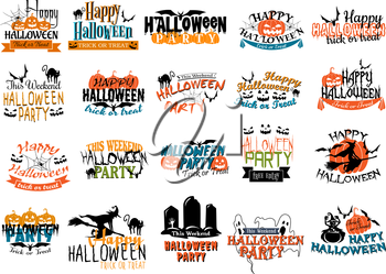 Halloween horror and eerie banners with pumpkins, cats, skulls, witch, spiders, graves, bats, gosts and ghouls for party themes design