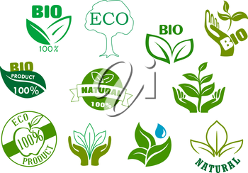 Bio, eco and natural products symbols with green leaves in hands, water drops, healthy organic apple fruits and tree. For food package design