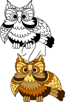 Cartoon brown and yellow striped owl with flapping wings. For mascot or wisdom concept design