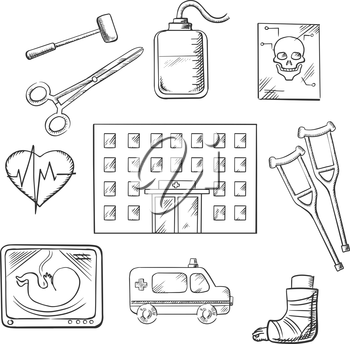 Hospital design with a hospital building surrounded by ambulance, x-ray, surgical tools, cardiograph, blood transfusion, skull, crutches and plaster caste. Vector sketch