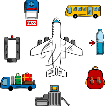 Airport, aviation and airline service icons with airplane surrounded by symbols of passport control, metal detector and security gate, baggage service and passenger bus, drink and hand baggage
