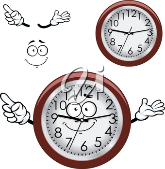 Cartoon round wall clock character with white dial, brown rim and funny smile