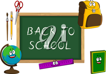 Happy cartoon book, globe, backpack, pencil, paintbrush, scissors, ruler and classroom blackboard with chalk text Back to school. For education concept design