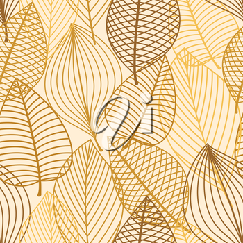 Autumn outline yellow, orange and brown leaves seamless pattern background for seasonal design