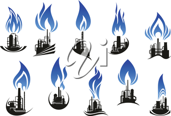 Industrial chemical plant icons with chimneys, pipes and tank storages black silhouettes, supplemented by curved blue flames. For natural gas and oil industry themes design