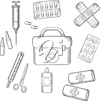 Ambulance concept with a sketch icons of a first aid kit, plasters, medication, forceps, syringe and tablets. For medicine and healthcare theme design